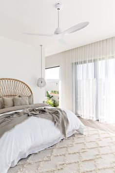 Bedroom Fan, Coastal Master Bedroom, Home Bedroom, Bedroom Decor, White Bedroom Curtains, White Linen Curtains, Bedroom Ideas, Bedroom Styles, Luxurious Bedrooms