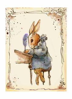 Bunny writing a card by bizabiz2 on Etsy