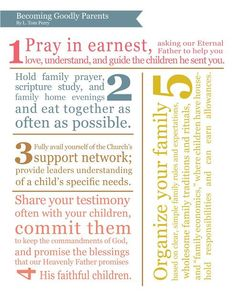 """""""In our remarkable parental stewardship, there are many ways that goodly parents can access the help and support they need to teach the gospel of Jesus Christ to their children. Let me suggest five things parents can do to create stronger family cultures: …"""" From Elder Perry's http://pinterest.com/pin/24066179230820503 Oct. 2012 http://facebook.com/223271487682878 message http://lds.org/general-conference/2012/10/becoming-goodly-parents #LDSconf; #ElderPerry; #parenting"""