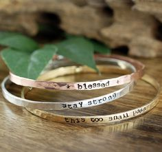 Inspirational Gift, Custom Quote Bracelet, Motivational Bangle Bracelet, Personalized Bracelets, Inspirational bracelet, Quote Jewelry by AnnieRehJewelry on Etsy