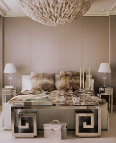 champagne colored chic bedroom, / fabulous chandelier/ glamour <3