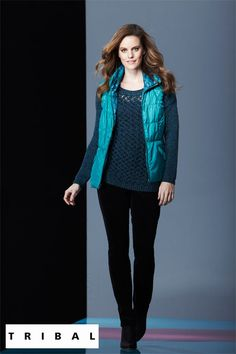 Reversible peacock green vest, striking teal sweater and black pant. Fall Fashion Trends, Fall Trends, Autumn Fashion, Tribal Outfit, Green Vest, Tribal Fashion, Spring Looks, Corduroy Pants, Slim Legs