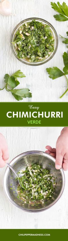 Easy Chimichurri Verde (Green Chimichurri) - A recipe for the timeless Argentinian green chimichurri sauce, which can also be used as a marinade, made with plenty of fresh herbs, garlic, vinegar, olive oil, and spicy jalapeno pepper. Whip this together in minutes to add depth and sophistication to many meals.