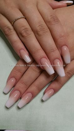 Pink and white acrylic ombre fade #AcryllicCoffinNails