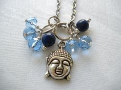 Blue Beads and Buddha Charm Necklace by bluewhitewear on Etsy,