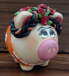 Items similar to Medium piggy bank aprox) - Super Cute piggy bank - Frida Kahlo piggy bank - Hand-painted hand-crafted piggy bank on Etsy Toy Story Movie, Cute Piggies, Buy Toys, Cork Stoppers, This Little Piggy, Pasta Flexible, Money Box, Cold Porcelain, Really Cool Stuff