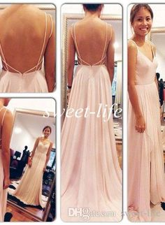 Brush Pink 2015 Sexy Backless Maxi Dress Spaghetti Straps V Neck Pink Open Back Prom Dresses Chiffon Evening Gowns Party Bridesmaid Dresses Online with $77.96/Piece on Sweet-life's Store | DHgate.com