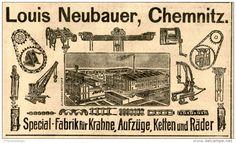 Original-Werbung/ Anzeige 1905 : KRAHNE / AUFZÜGE / LOUIS NEUBAUER CHEMNITZ - ca. 100 x 60 mm