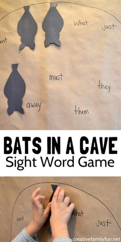 Have some fun practicing sight words with this Bat Sight Word Game by putting all your sleeping bats in the correct place in their sight word cave. Bat Activities For Kids, Spelling Activities, Sight Word Activities, Reading Activities, Kindergarten Activities, Letter Activities, Sight Words, Sight Word Practice, Sight Word Games