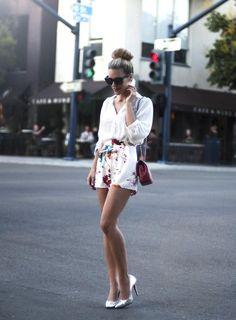 Shop this look on Kaleidoscope (blouse, shorts, pumps)  http://kalei.do/WIZoBZZtZ7e9YXCF