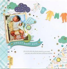 """Capture and cherish each of his most precious moments with the adorable """"Hello Baby Boy"""" collection from Echo Park. Baby Scrapbook Pages, Baby Boy Scrapbook, Travel Scrapbook, Scrapbook Albums, Scrapbook Layout Sketches, Scrapbooking Layouts, Once Upon A Time, Park Birthday, Scrapbook Generation"""