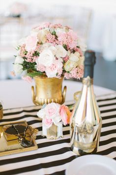 a chic color palette of blush and gold with black and white stripe accents Photography: Katie Shuler Photography - www.katieshuler.com Read More: http://www.stylemepretty.com/2014/07/25/classic-indoor-wedding-with-a-dash-of-glam/