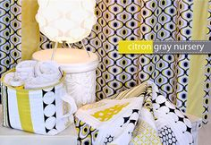 DIY Michael Miller Fabrics Citron Gray Nursery Fabric Storage Basket