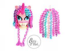 Pastel Princess Unicorn Pony Hat with Add-On Tail. Made by CozyHat
