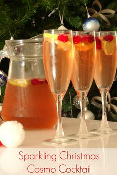 Sparkling Christmas Cosmo Cocktail Recipe - all the delicious flavour of a cosmopolitan with the added sparkle of cava, prosecco or sparkling wine! I'm definitely serving this drink for Christmas this year! | www.pinkrecipebox.com