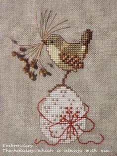Easter cross stitch perhaps Cross Stitch Bird, Cross Stitch Animals, Cross Stitch Charts, Cross Stitch Designs, Cross Stitching, Cross Stitch Embroidery, Embroidery Patterns, Hand Embroidery, Cross Stitch Patterns