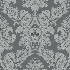Glitter Damask Wallpaper Grey / Silver Pear Tree UK10435