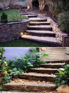 Lovely DIY Garden Pathway Steps On A Slope – Onechitecture - DIY Garten Landschaftsbau Outdoor Steps, Outdoor Landscaping, Outdoor Gardens, Landscaping Ideas, Shade Landscaping, Walkway Ideas, Railroad Ties Landscaping, Florida Landscaping, Hillside Landscaping
