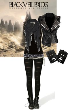 Don't give a shit about Black Veil Brides but this outfit is awesome Dark Fashion, Emo Fashion, Gothic Fashion, Fashion Outfits, Womens Fashion, Fashion Top, Lolita Fashion, Fashion Boots, Black Veil Brides