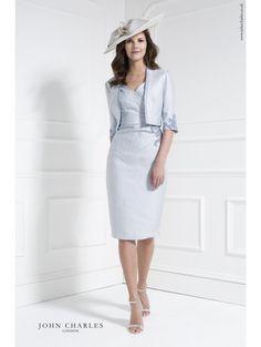 JOHN CHARLES 26068 Lace Trim Dress And Jacket Cornflower