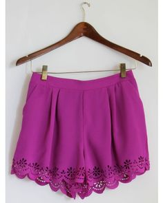 Fuchsia Flower Lace Shorts delicate