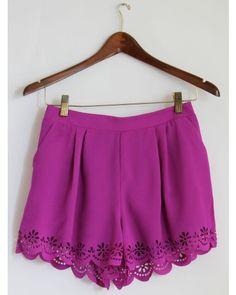 Fuchsia Flower Lace Shorts