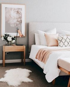 Beautiful simple bedroom in white and copper