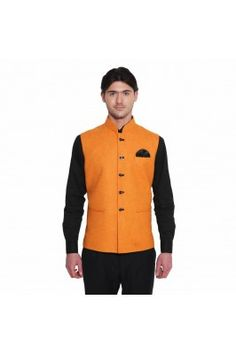 This wedding season, step out in a new look with this orange coloured jacquard sleeveless Nehru jacket #nehrujacketonline #onlinenehrujacket #orangenehrujacket #mensfashion #partywearjacket Shop here-  https://trendybharat.com/men-fashions/ethnic-wear/indo-western/orange-jacquard-sleeveless-waistcoat-favjc161106