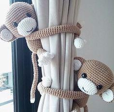 Monkey curtain tie back, cotton yarn crochet monkey, amigurumi. Monkey curtain tie back cotton yarn crochet monkey by thujashop Baby Boy Rooms, Baby Bedroom, Baby Boy Nurseries, Nursery Room, Nursery Decor, Baby Decor, Room Decor, Baby Room Ideas For Boys, Child's Room