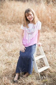 Rainbow Denim skirt for girls! Comes in sizes 4-14 and matches the women's version. Adjustable waistband and stretchy denim!