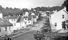 Selvbyggerhusene i Nyhavnsbakken i 1920-årene. Det er ikke de store forandringene utenom de fine hagene som er nå, og bebyggelsen som senere er kommet til i åsen bak. (Kilde: Gamle Bergen Årbok 2007)
