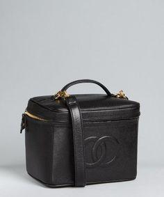 Chanel black caviar leather vintage train case