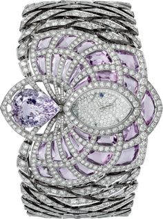 Figurative High Jewelry watch Rhodium-finished white gold, purple sapphire, amethysts, diamonds