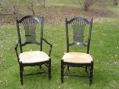 painted porch - Black Wheatback Arm and Side Chairs