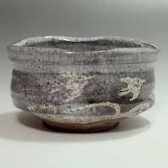 NEZUMI SHINO CHAWAN - Modern Gray Japanese Crackle Glaze Pottery Tea Bowl #2115 - ChanoYu online shop