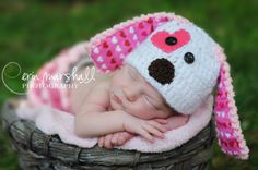 Puppy Dog Baby Hat in Pink photographers DISCOUNT by mandag433, $24.00