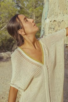 shop - Mèrit Orlando · Handcrafted in Ibiza Author Slowfashion Ibiza, Orlando, Maxi Kaftan, Slow Fashion, Hand Knitting, Hand Weaving, V Neck, Pure Products, Pullover