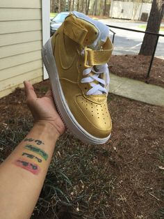 Gold Custom Nike Air force Ones Womens Authentic by TheLittleFoot