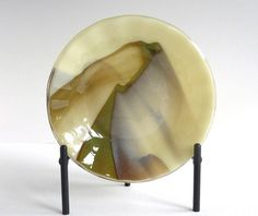 Fused Glass Bowl in Streaky Vanilla and Brown