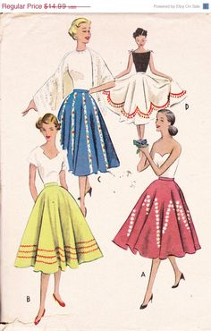 "CLEARANCE Circle Swing Skirt Womens Vintage 1950's Sewing Pattern McCall's 8960 Waist 26"" Rockabilly"