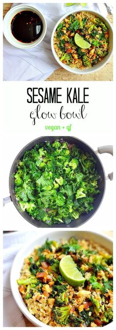 Sesame Kale Glow Bowl - vegan gf - Simple nourishing flavorful and filling with high-quality plant protein from tempeh kale quinoa broccoli and sesame seeds. Plus a yummy soy ginger sauce and it takes only 20 minutes to throw together! Veggie Recipes, Whole Food Recipes, Vegetarian Recipes, Cooking Recipes, Healthy Recipes, Tempeh Recipes Vegan, Vegan Recipes Broccoli, High Protein Vegan Recipes, Vegan Foods