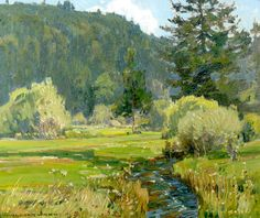 William Wendt (1865-1946). Meandering Stream, 1927. Oil on Canvas. 19.5 x 23 in