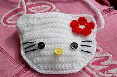 Pin broken, but cute idea! Crochet Diy, Crochet Crafts, Crochet Projects, Diy Crafts, Crochet Hello Kitty, Confection Au Crochet, Yarn Thread, Crochet Kitchen, Crochet Purses
