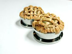 Miniature Food Plugs Guages Stainless Steel Tunnels Jewelry Apple Pie by Kawaii Buddies