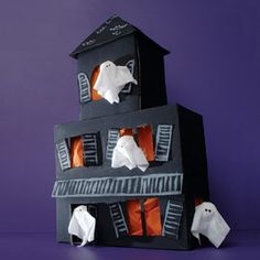 Haunted house-I want to make this for my table.  It's made out of kleenex boxes.
