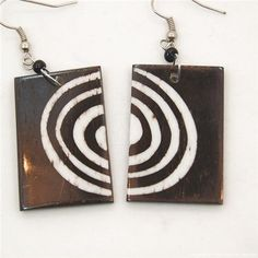 Batik Print Circles Cow Bone Masai Earrings 712-87