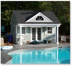 Summerville pool cabana house design house plans and Pool house guest house plans