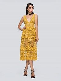 Yellow Plunge Neck High Waist Lace Dress