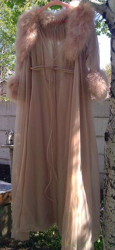 Vintage Intime Marabou Trimmed Peignoir Set Nightgown by Lauralous, $260.00