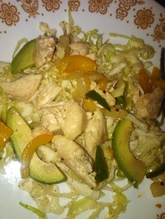 Chicken Fajitas with Crunchy Lime Cabbage and Avocado | Recipe ...